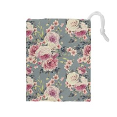 Pink Flower Seamless Design Floral Drawstring Pouches (large)  by Nexatart