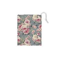 Pink Flower Seamless Design Floral Drawstring Pouches (xs)