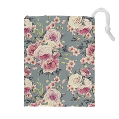 Pink Flower Seamless Design Floral Drawstring Pouches (extra Large)