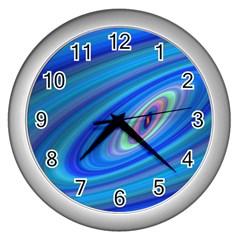 Oval Ellipse Fractal Galaxy Wall Clocks (silver)