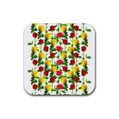 Rose Pattern Roses Background Image Rubber Square Coaster (4 Pack)