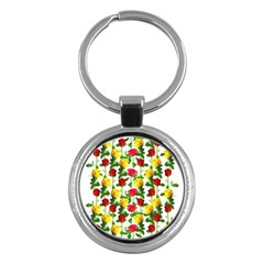 Rose Pattern Roses Background Image Key Chains (round)