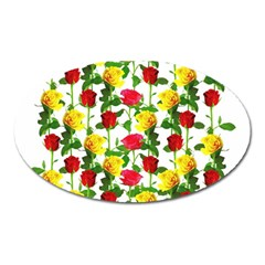 Rose Pattern Roses Background Image Oval Magnet