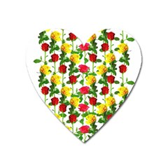 Rose Pattern Roses Background Image Heart Magnet