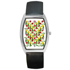 Rose Pattern Roses Background Image Barrel Style Metal Watch