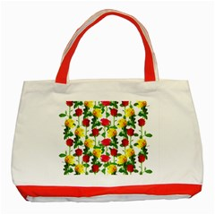 Rose Pattern Roses Background Image Classic Tote Bag (red)