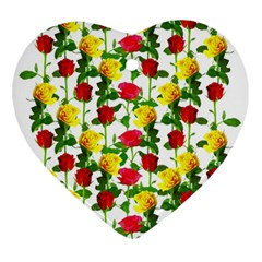 Rose Pattern Roses Background Image Heart Ornament (two Sides) by Nexatart