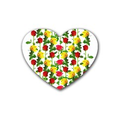 Rose Pattern Roses Background Image Heart Coaster (4 Pack)  by Nexatart
