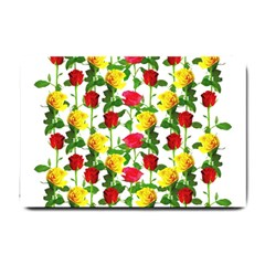 Rose Pattern Roses Background Image Small Doormat