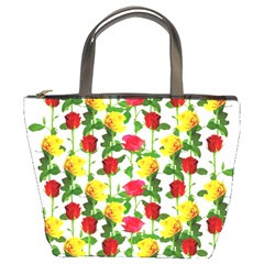 Rose Pattern Roses Background Image Bucket Bags