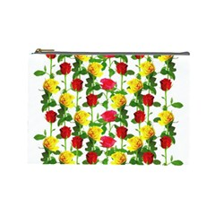 Rose Pattern Roses Background Image Cosmetic Bag (large)