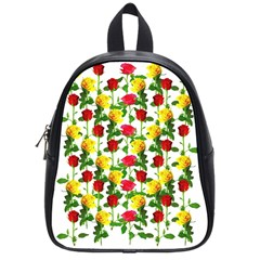Rose Pattern Roses Background Image School Bag (small) by Nexatart