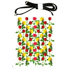 Rose Pattern Roses Background Image Shoulder Sling Bags by Nexatart