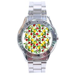 Rose Pattern Roses Background Image Stainless Steel Analogue Watch