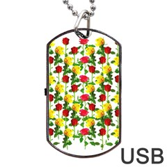 Rose Pattern Roses Background Image Dog Tag Usb Flash (two Sides)