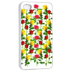 Rose Pattern Roses Background Image Apple Iphone 4/4s Seamless Case (white)
