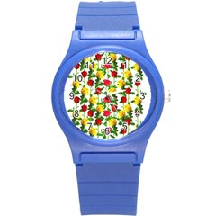Rose Pattern Roses Background Image Round Plastic Sport Watch (s) by Nexatart