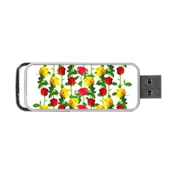 Rose Pattern Roses Background Image Portable Usb Flash (two Sides) by Nexatart