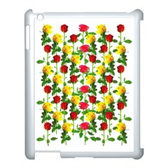 Rose Pattern Roses Background Image Apple Ipad 3/4 Case (white) by Nexatart