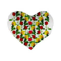 Rose Pattern Roses Background Image Standard 16  Premium Heart Shape Cushions