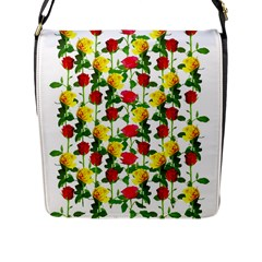 Rose Pattern Roses Background Image Flap Messenger Bag (l)