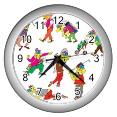 Golfers Athletes Wall Clocks (silver)  by Nexatart