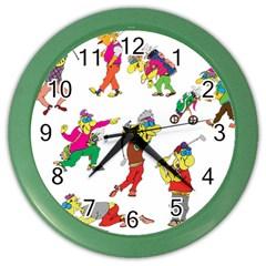Golfers Athletes Color Wall Clocks by Nexatart
