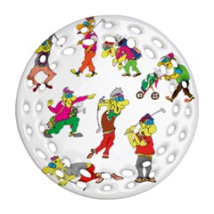Golfers Athletes Round Filigree Ornament (two Sides) by Nexatart