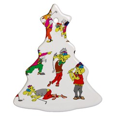 Golfers Athletes Christmas Tree Ornament (two Sides)