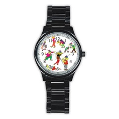 Golfers Athletes Stainless Steel Round Watch by Nexatart