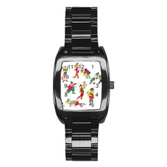 Golfers Athletes Stainless Steel Barrel Watch by Nexatart
