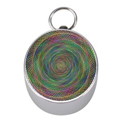 Spiral Spin Background Artwork Mini Silver Compasses by Nexatart