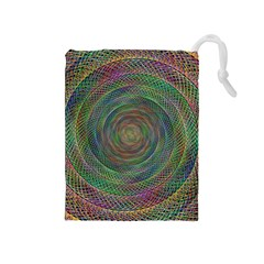 Spiral Spin Background Artwork Drawstring Pouches (medium)