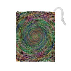 Spiral Spin Background Artwork Drawstring Pouches (large)