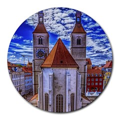 Steeple Church Building Sky Great Round Mousepads by Nexatart
