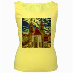 Steeple Church Building Sky Great Women s Yellow Tank Top
