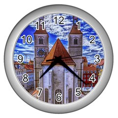 Steeple Church Building Sky Great Wall Clocks (silver)
