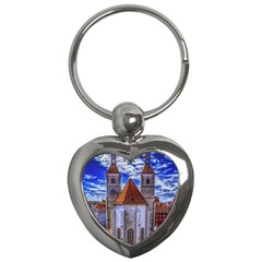 Steeple Church Building Sky Great Key Chains (heart)