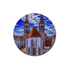 Steeple Church Building Sky Great Rubber Round Coaster (4 Pack)  by Nexatart