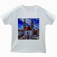 Steeple Church Building Sky Great Kids White T Shirts