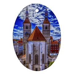 Steeple Church Building Sky Great Oval Ornament (two Sides)