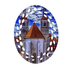 Steeple Church Building Sky Great Oval Filigree Ornament (two Sides) by Nexatart