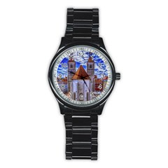 Steeple Church Building Sky Great Stainless Steel Round Watch by Nexatart