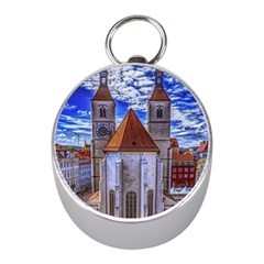 Steeple Church Building Sky Great Mini Silver Compasses