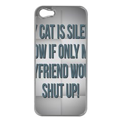quiet Cat!  Apple Iphone 5 Case (silver) by Awesome66Stuff