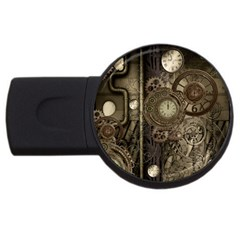 Stemapunk Design With Clocks And Gears Usb Flash Drive Round (4 Gb) by FantasyWorld7