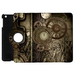Stemapunk Design With Clocks And Gears Apple Ipad Mini Flip 360 Case by FantasyWorld7