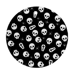 Skull, Spider And Chest    Halloween Pattern Ornament (round) by Valentinaart