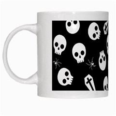 Skull, Spider And Chest    Halloween Pattern White Mugs by Valentinaart