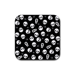 Skull, Spider And Chest    Halloween Pattern Rubber Coaster (square)  by Valentinaart